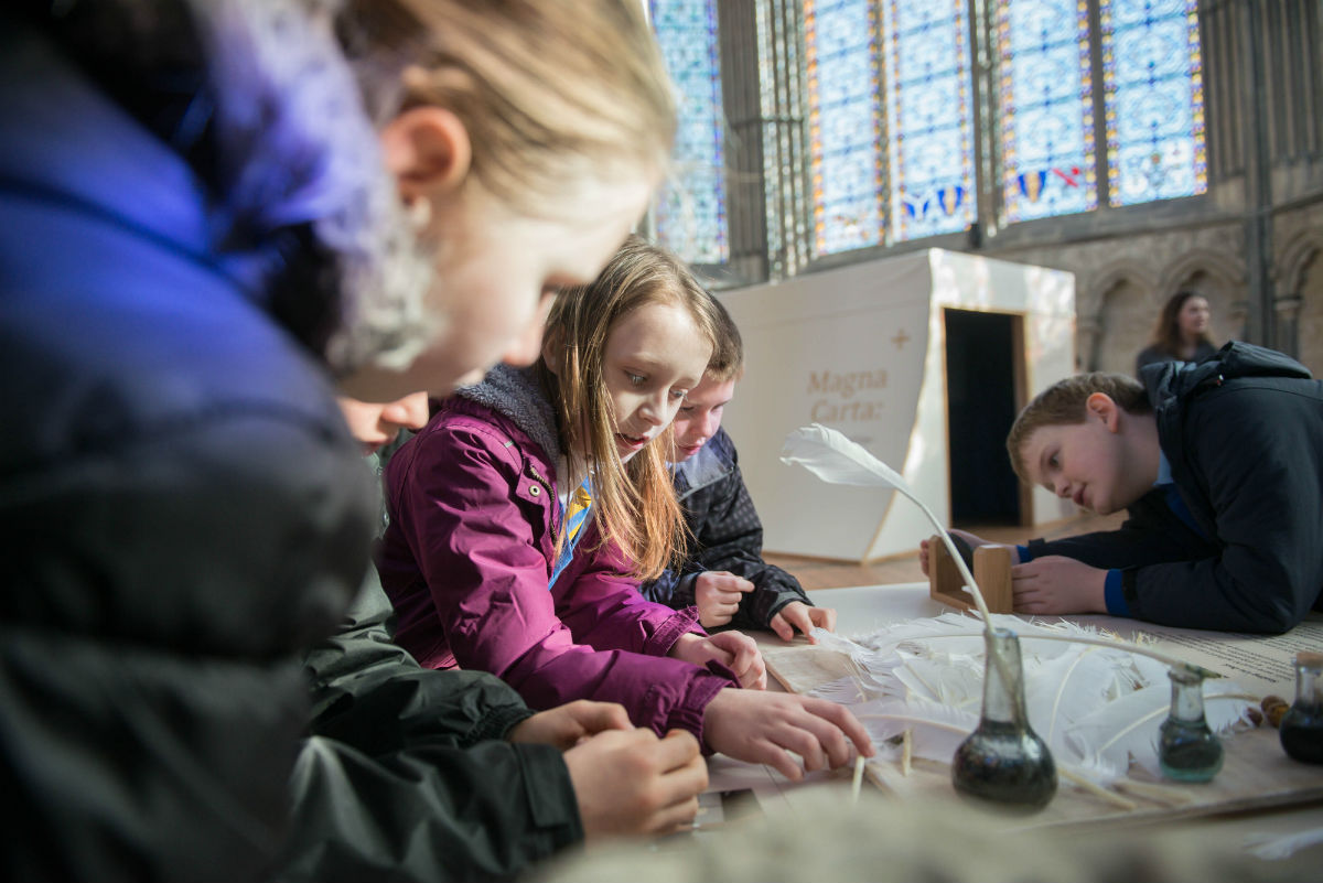 Children in Salisbury Cathedral Magna Carta Exhibition. Photo by Ash Mills