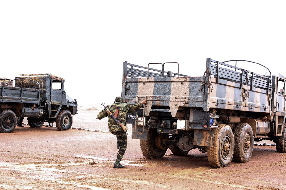 Military vehicles in the desert near Bir Lehlu