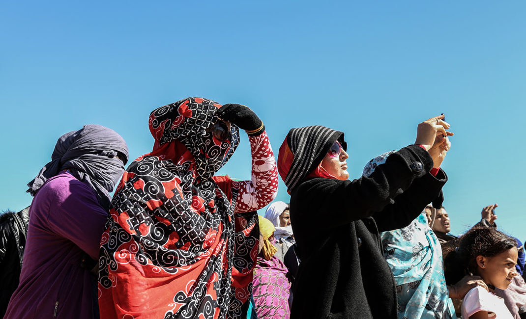 A rally for Western Sahara in the desert near Rabouni refugee camp
