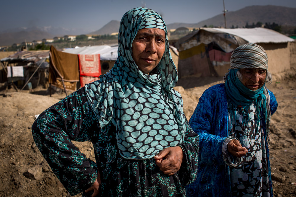 Widows in a camp for 'internally displaced persons in Kabul