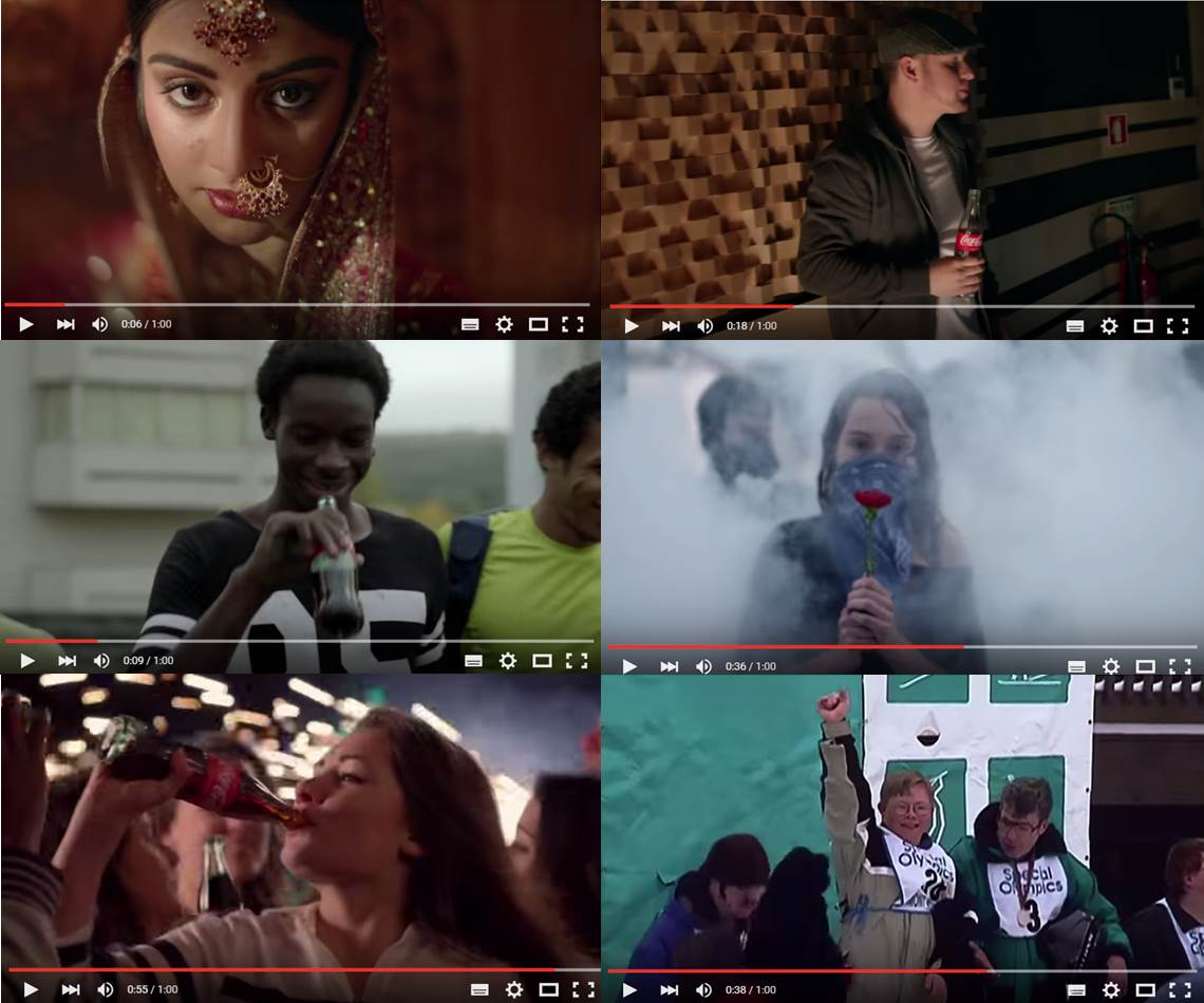 A series of still shots from Coca-Cola's advert 'Choose Happiness: What Are You Waiting For?'.