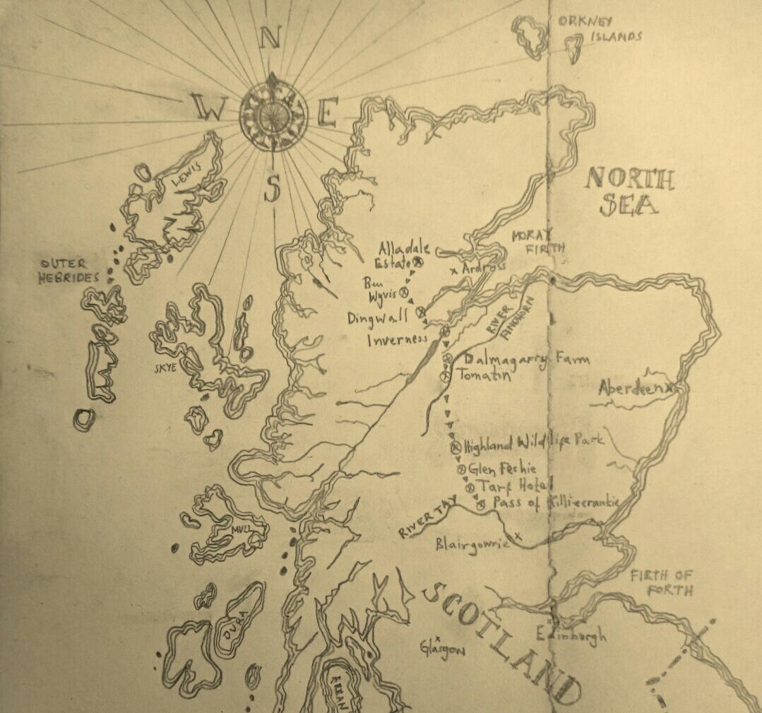 Map of Adam's walk by Ulli Mattsson.