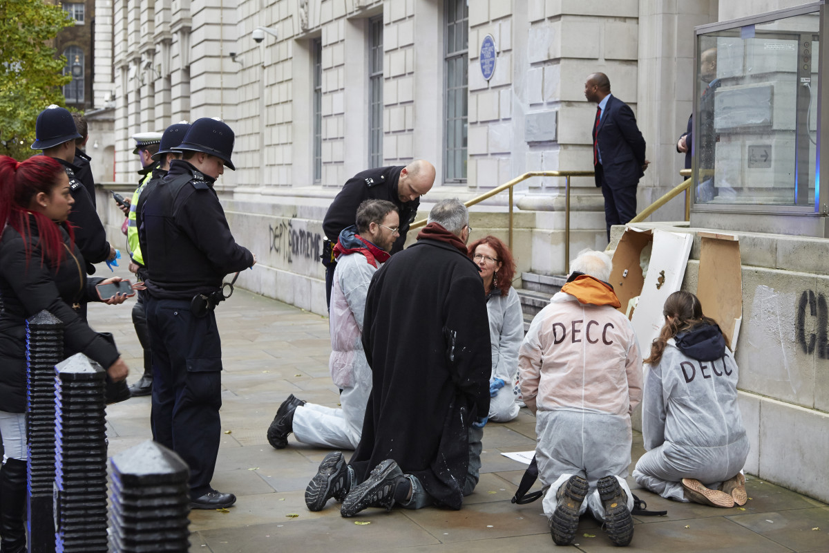 Fr Martin Newell at DECC protest by Carmel King