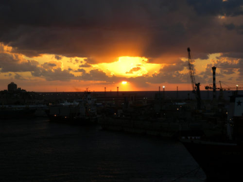 Sunset over the port of Tripoli by Weisserstier