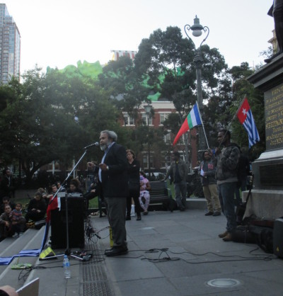 Jacob Rumbiak Speaks at a rally outside the State Library of Victoria. Connor Woodman