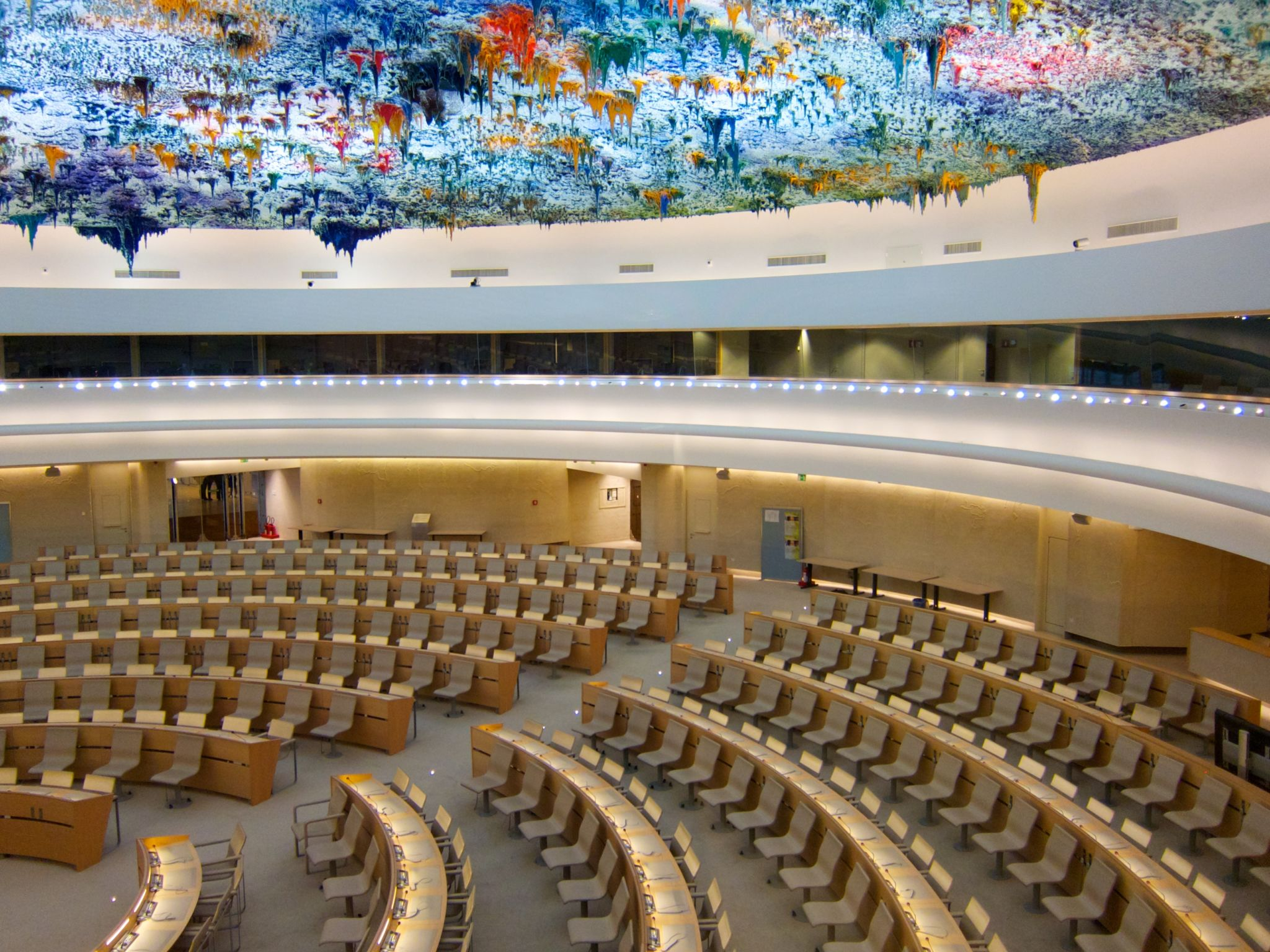 Room XX, Palais des Nations. Ceiling by Miquel Barceló. Photo by BriYYZ via Flickr