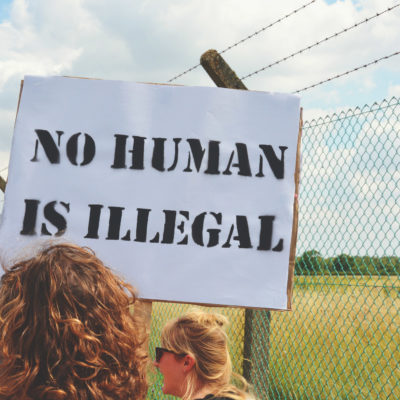 No human is illegal, protesting