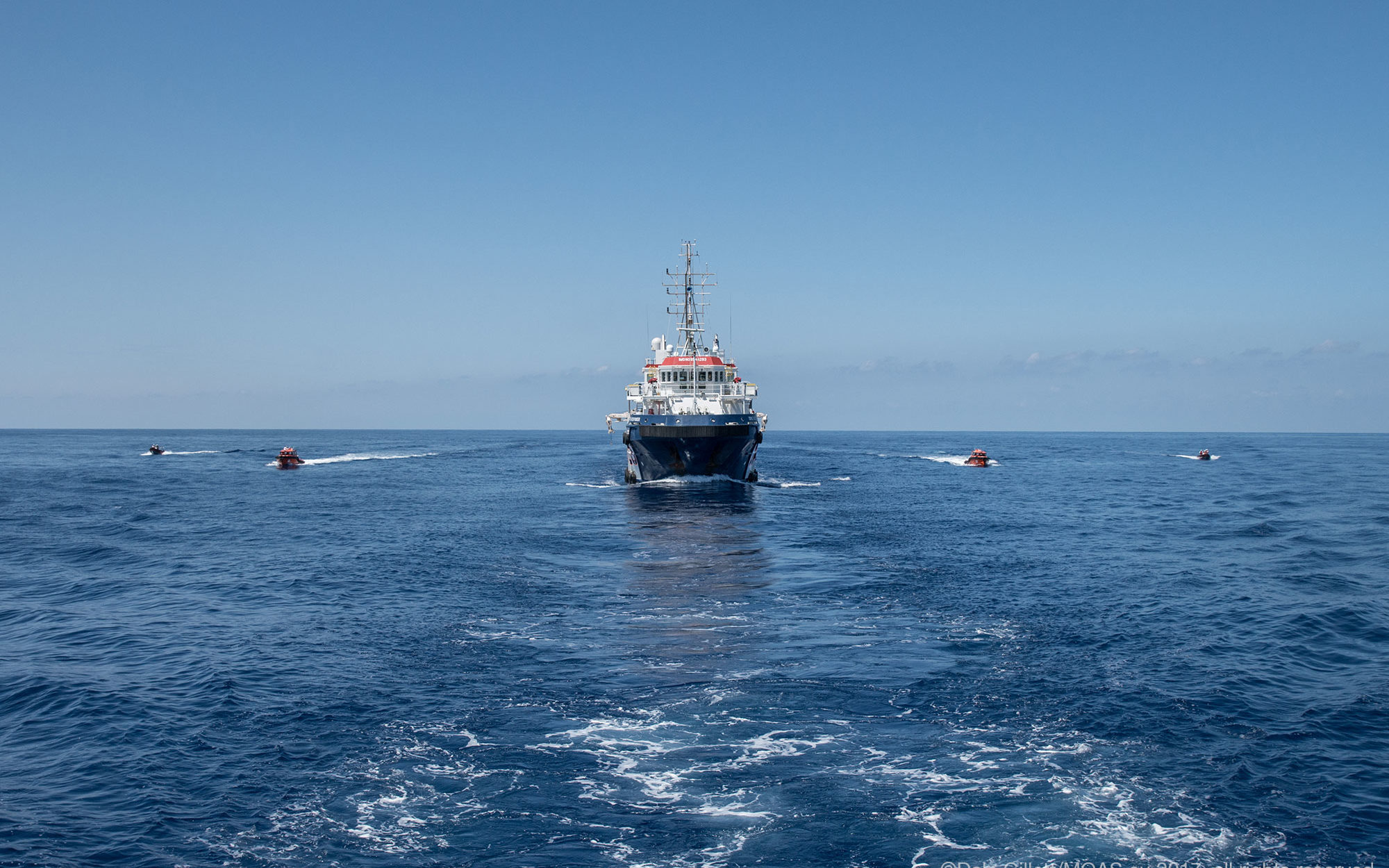 The rescue vessel belonging to Malta-based Migrant Offshore Aid Station (MOAS) crosses the Mediterranean