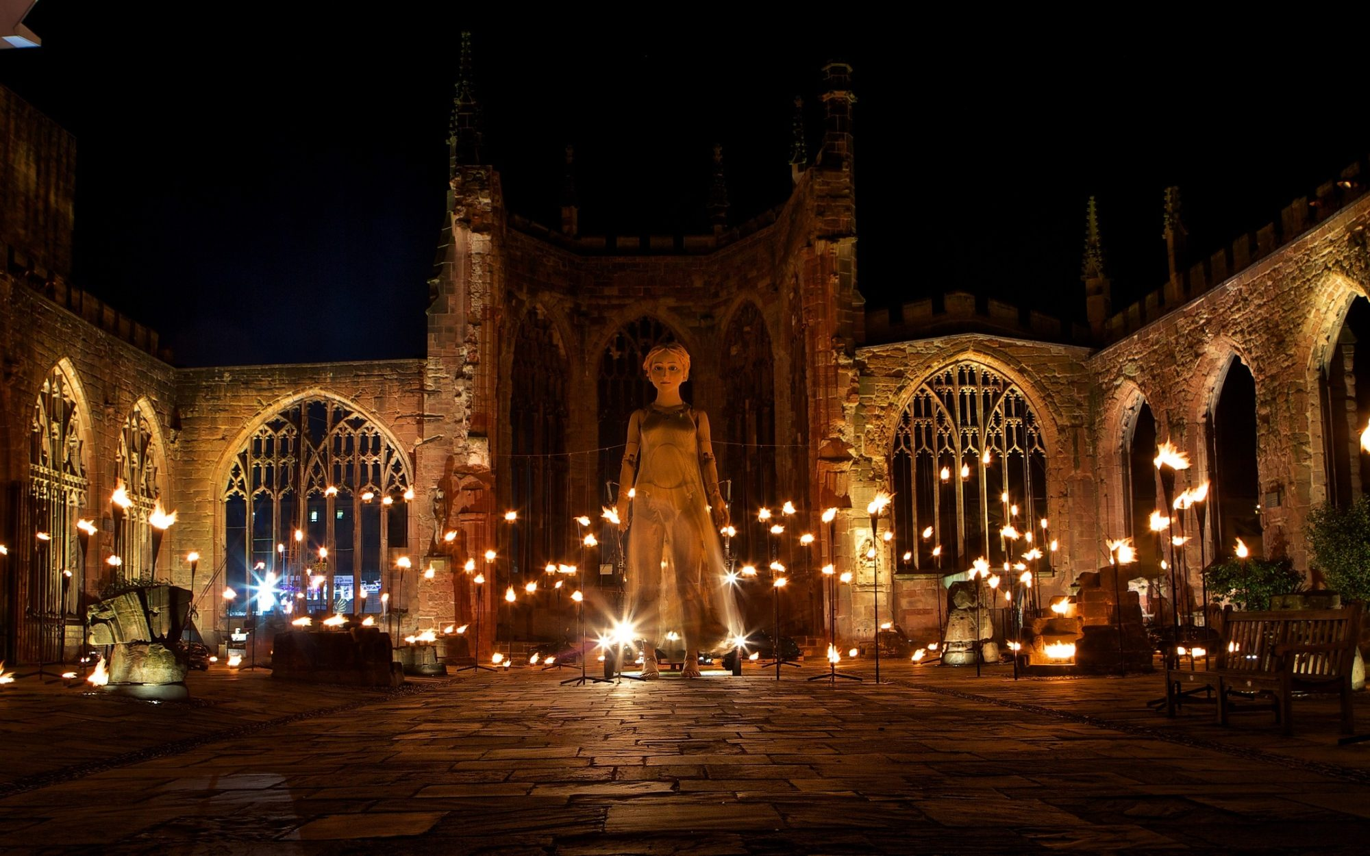 Godiva Awakes, a 20-ft Lady Godiva puppet awakes in Coventry's old cathedral