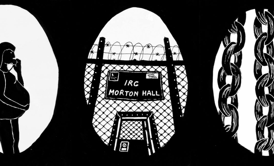 Black and white silhouette sketches show a pregnant woman on the telephone, the high barbed wire fence surrounding Mortan Hall Immigration Detention Centre and the dog chains Carlington Spencer was shackled in.