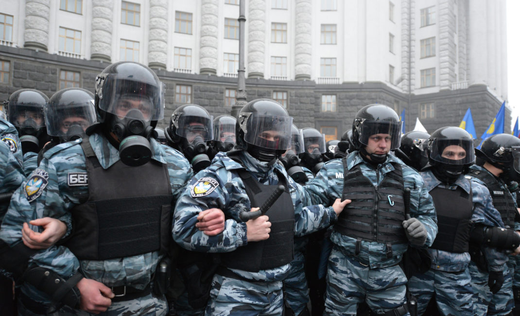 Riot police at a pro-EU rally in Kyiv in 2013, attended by over 100,000 people.