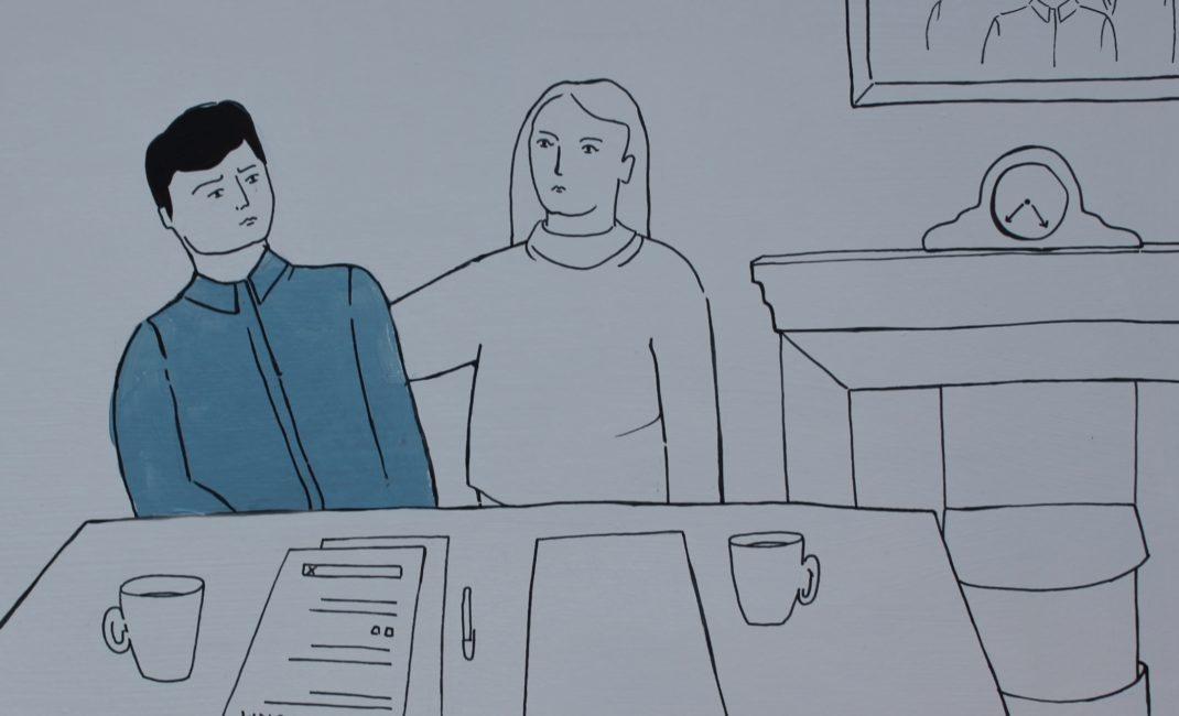 Illustration in blue by Beatrice Florence Taylor for Autism short story