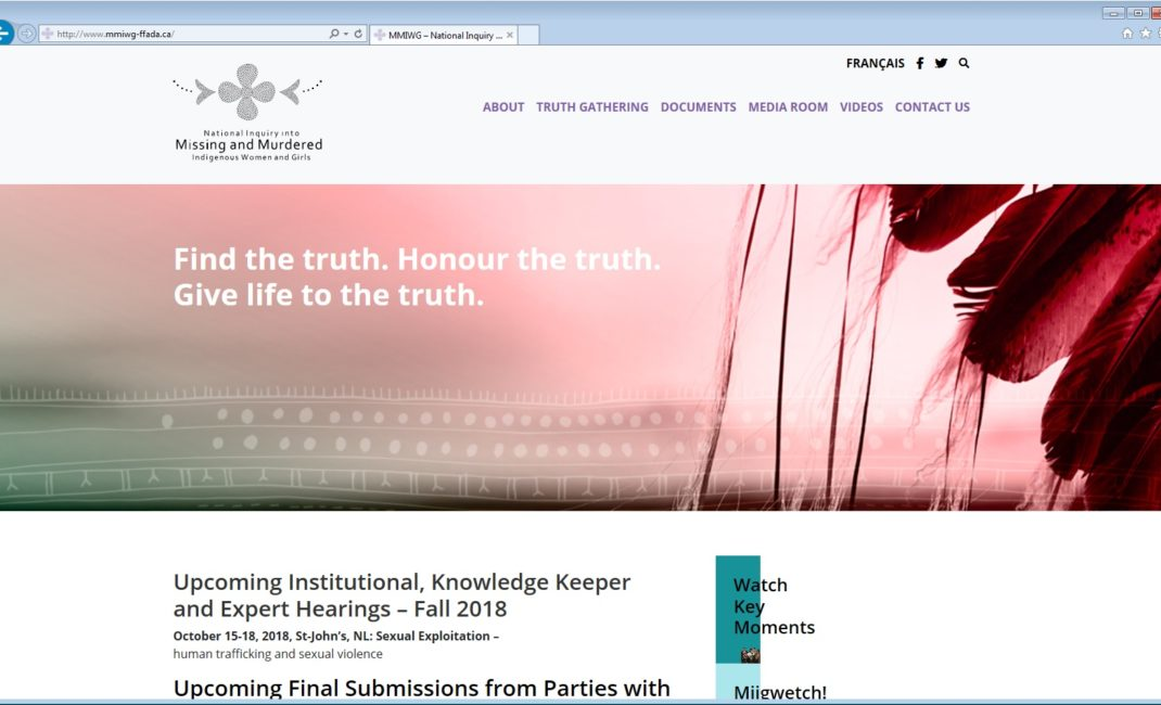 A screenshot of the homepage of the upgraded website of the National Inquiry into Missing and Murdered Indigenous Women and Girls.