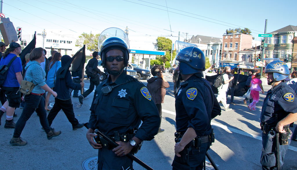 A protest in San Francisco after police shot and killed police shooting of Kenneth Wade Harding