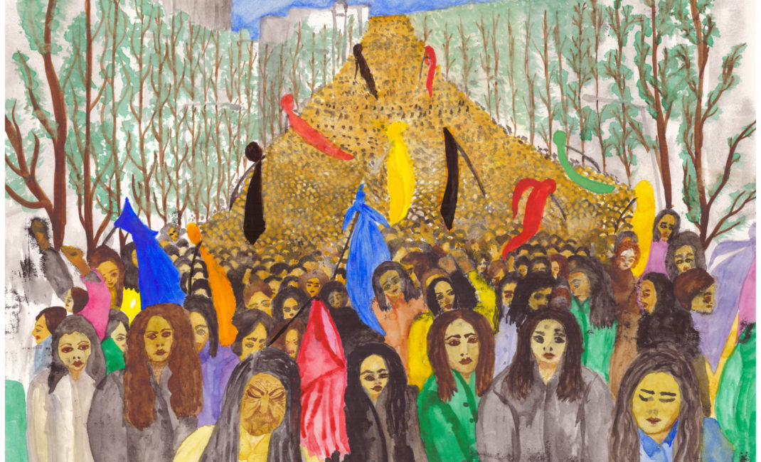 A painting shows a demonstration by women on 8 March 1979 when Khomeini said that women had to cover their hair