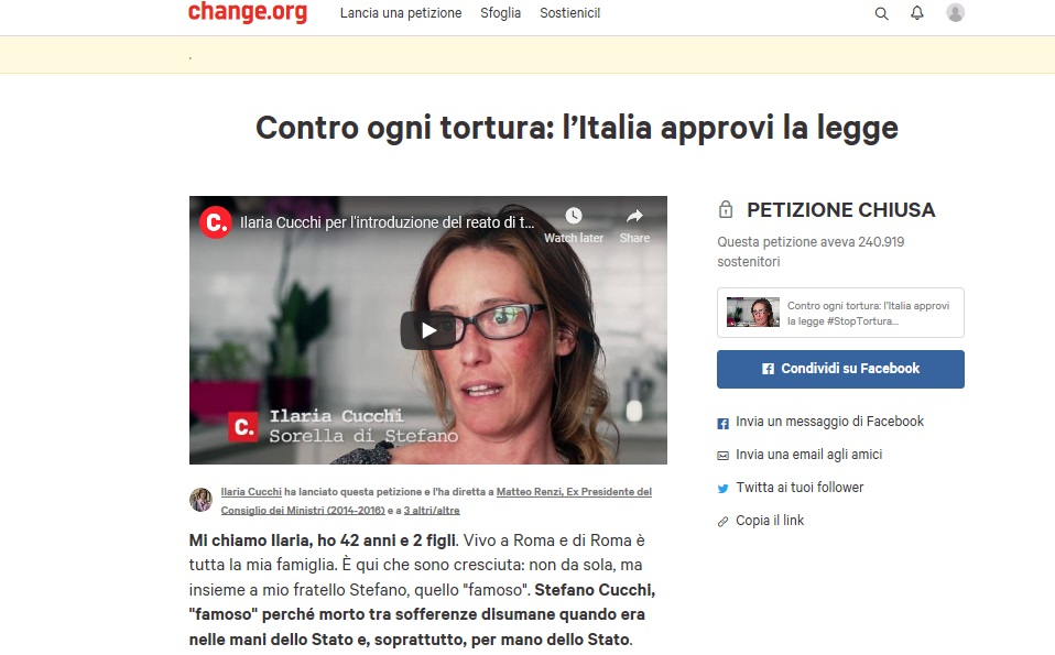 Ilaria Cucchi's Change petition for Stefano Cucchi