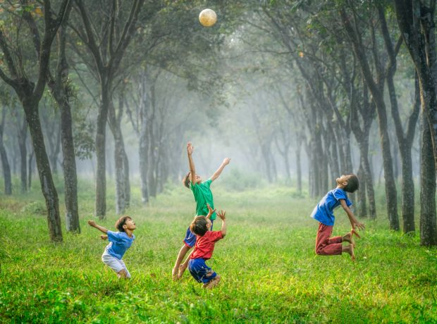 children playing with ball between two rows of trees on bright green grass. For children's mental health week