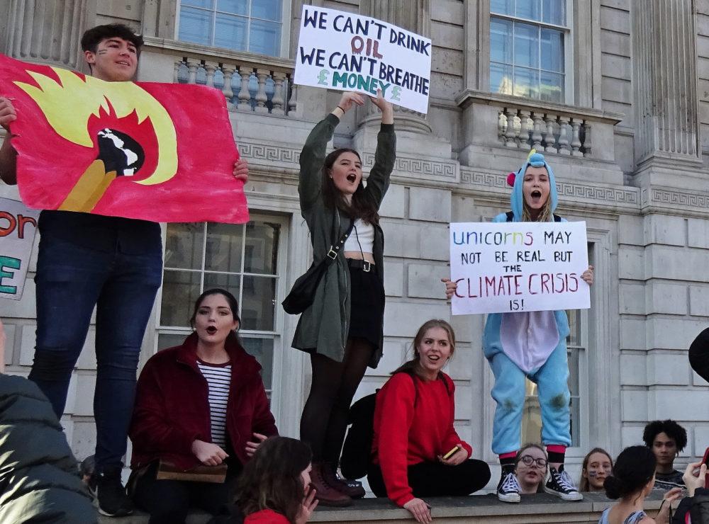 Children wave environmental placards