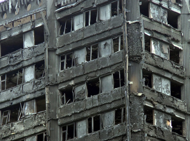 The burnt shell of Grenfell Tower, taken on June 16, 2017