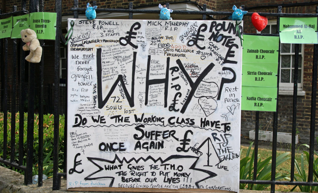 """A hand-written tribute reads """"Why do we, the working class, have to suffer once again?"""""""