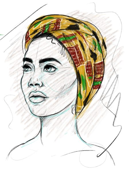 Artist's sketch of woman wearing a rainbow headscarf