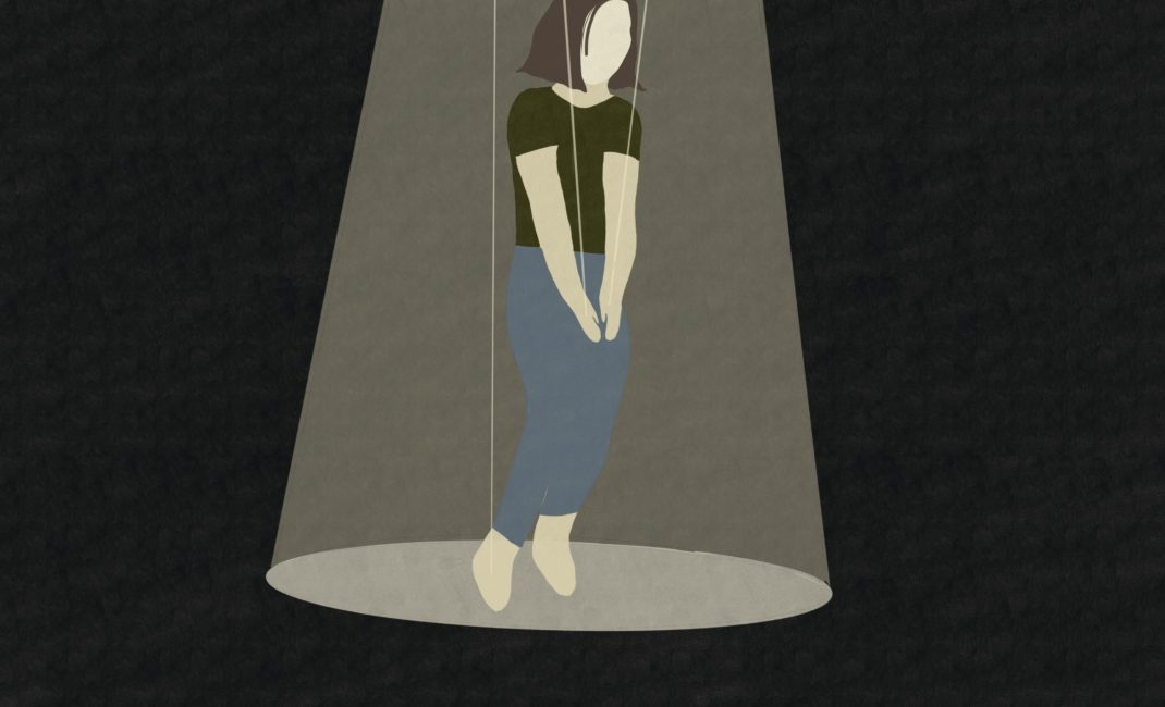 Artwork depicting a faceless woman in a spotlight on puppet's strings
