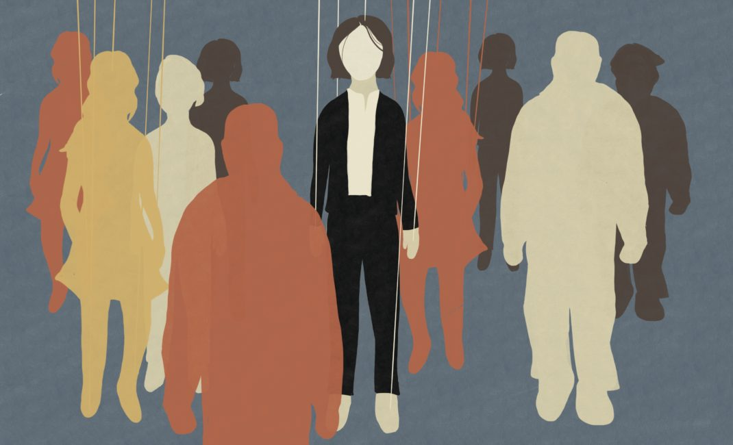 Artwork of faceless woman surrounded by figures on puppet's strings