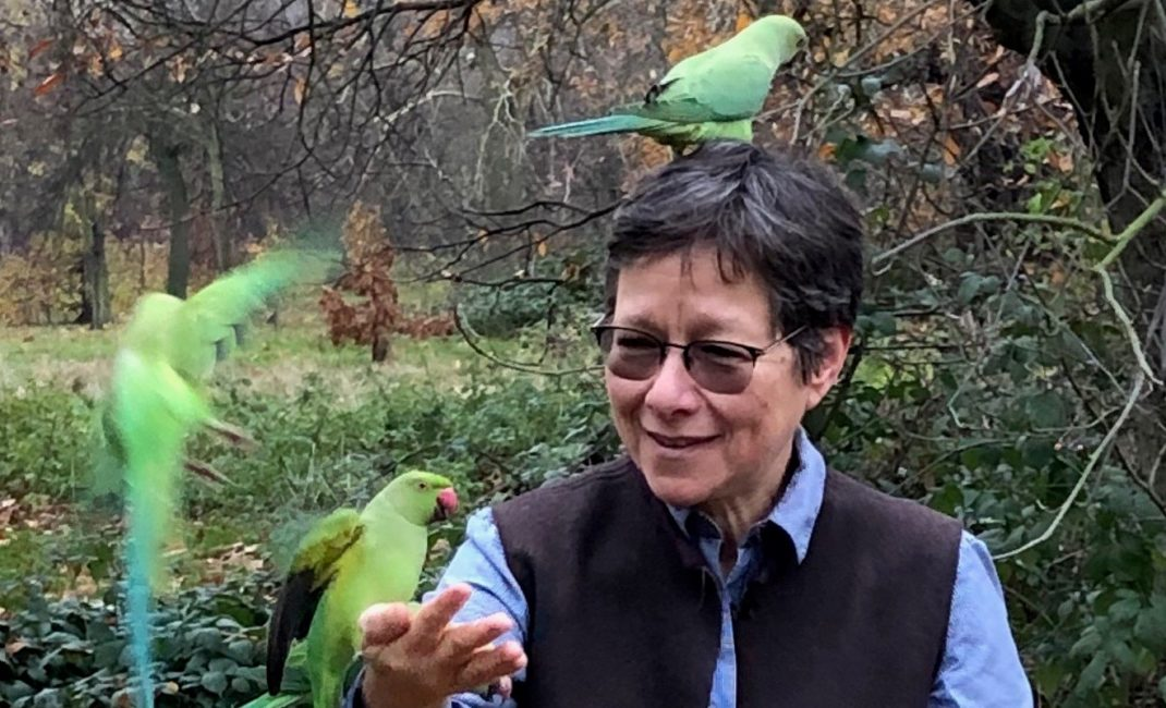 Anna Lowenhaupt Tsing is pictured feeding three bright green parakeets