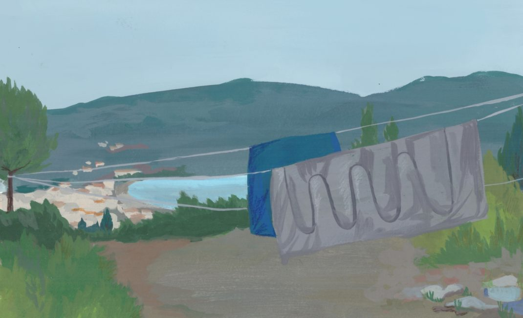 Painting of hanging clothes in refugee camp