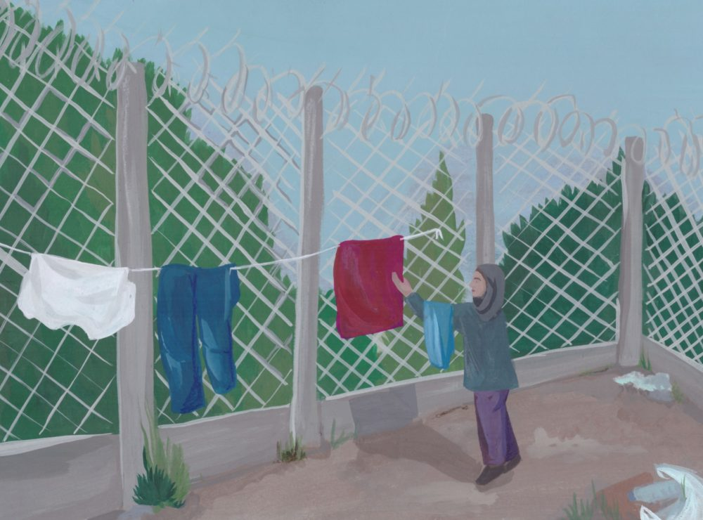 Painting of refugee woman hanging clothes in refugee camp against barbed wire fence