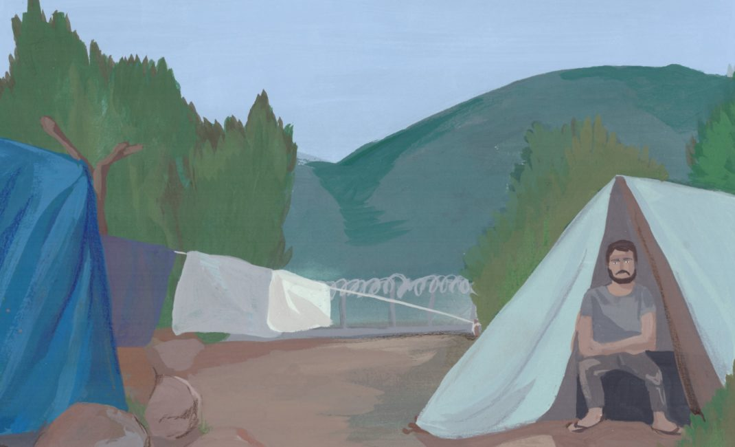 Painting of refugee man sitting in tent in refugee camp
