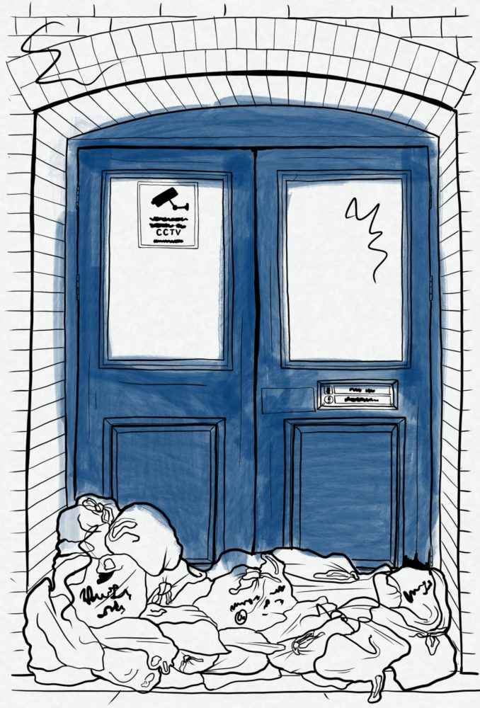 Artist's sketch of a blue doorway behind a heap of rubbish bags