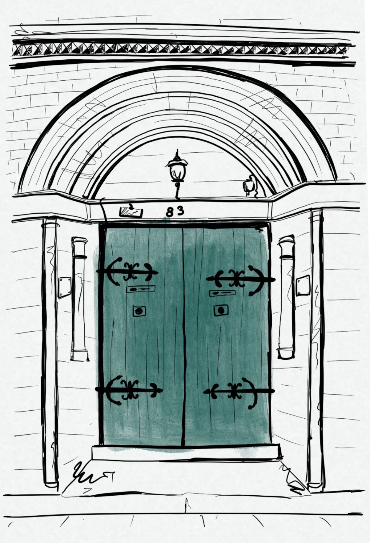 Artist's sketch of an ornate green doorway within an arch