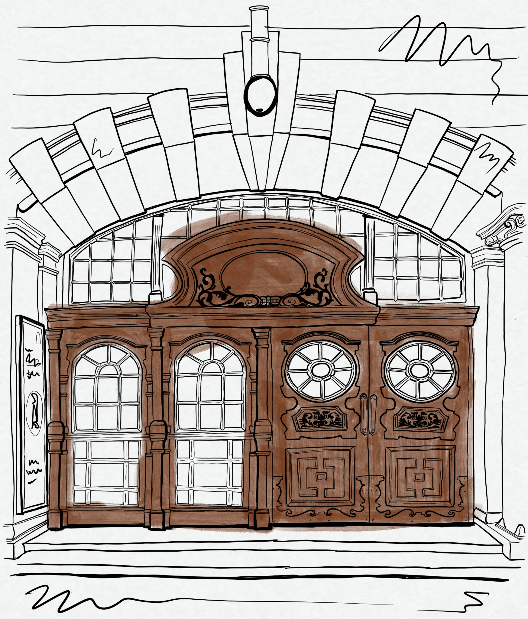 Artist's sketch of an ornate brown opera house doorway