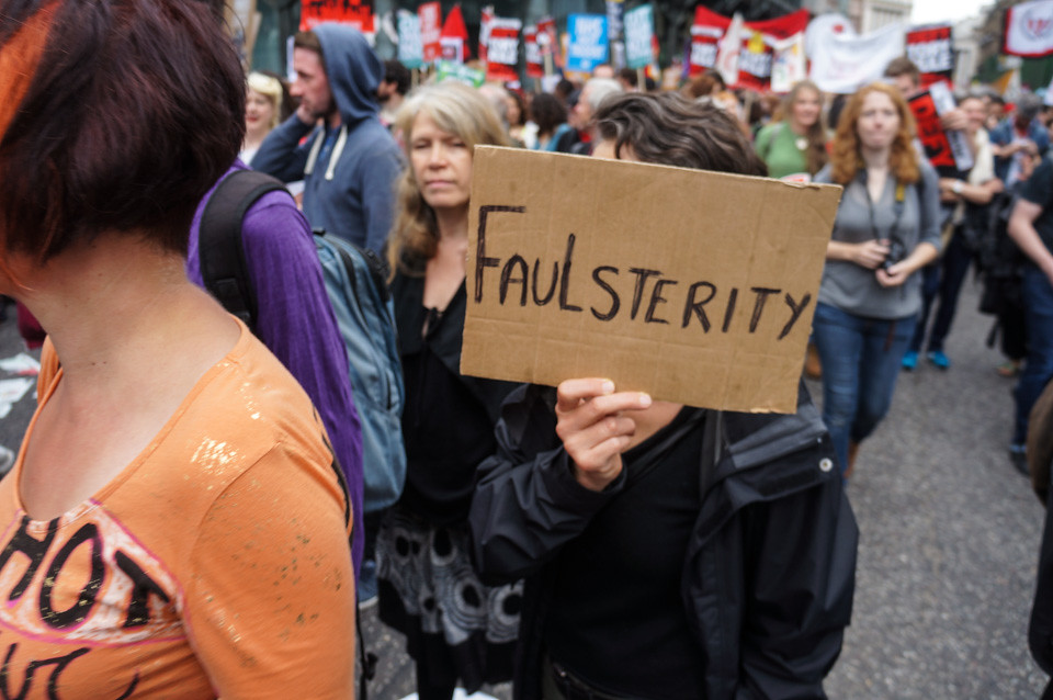 "End Austerity ""Faulsterity"" placard carried at a London street protest"