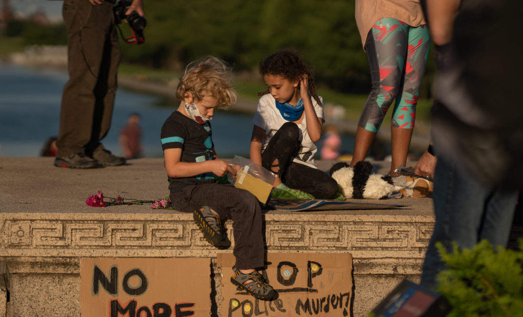 Two children at the George Floyd Black Lives Matter protest vigil at the Lincoln Memorial