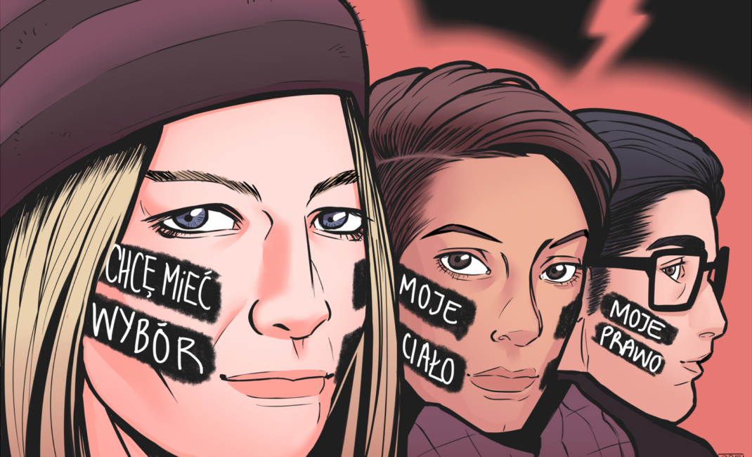 Sketch of three women's faces, each with Abortion without Borders slogans streaked across their cheeks