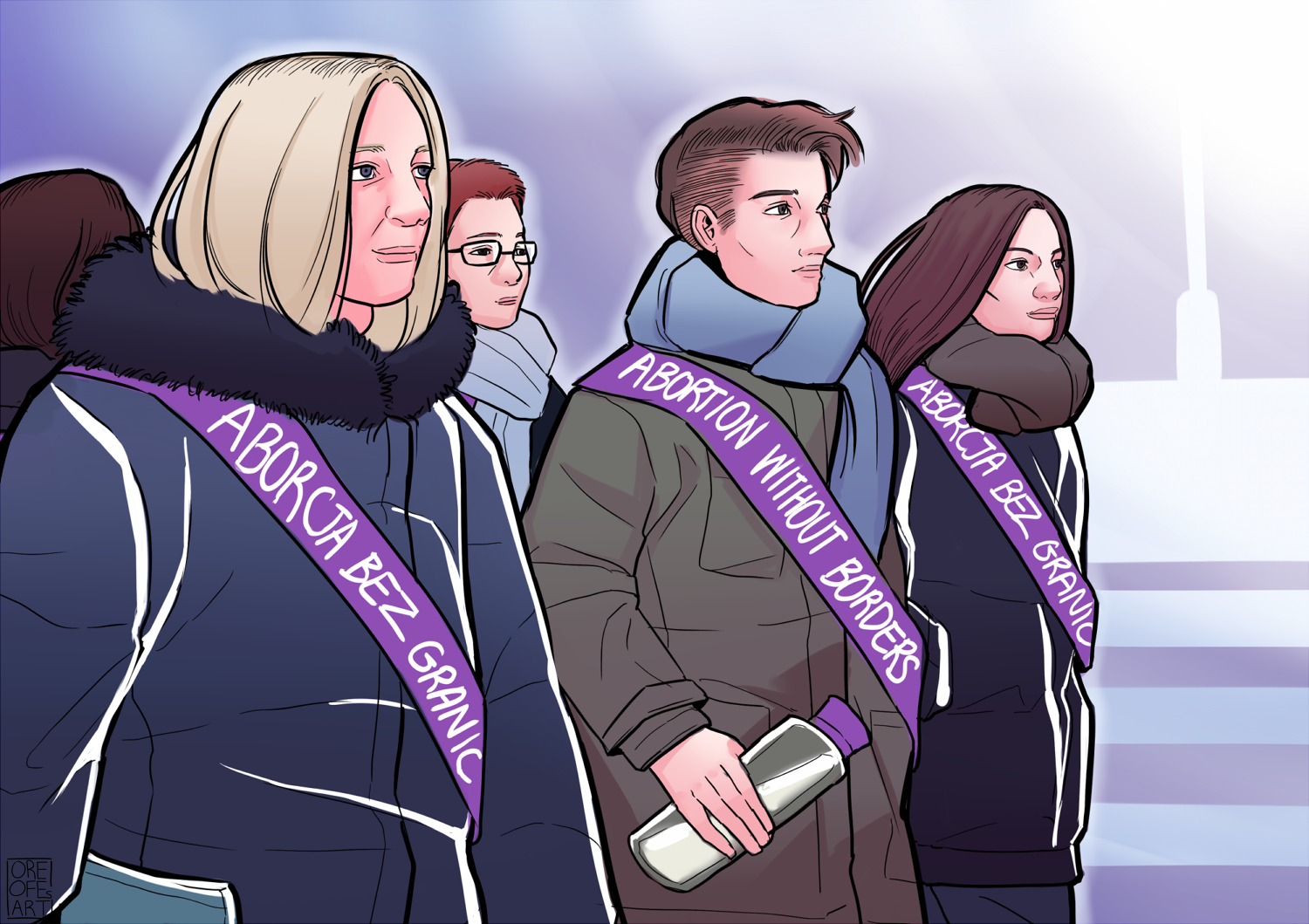 Sketch of four women wearing Abortion Without Borders sashes over their winter coats as they march in protest