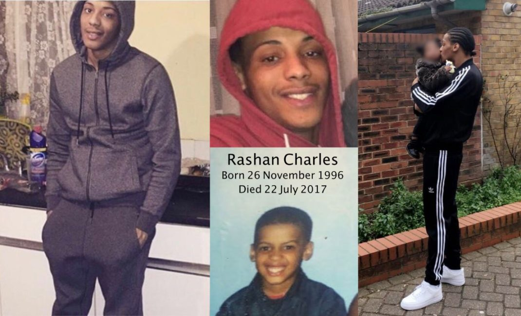 Collage of pictures of Rashan Charles in tribute after death under police restraint