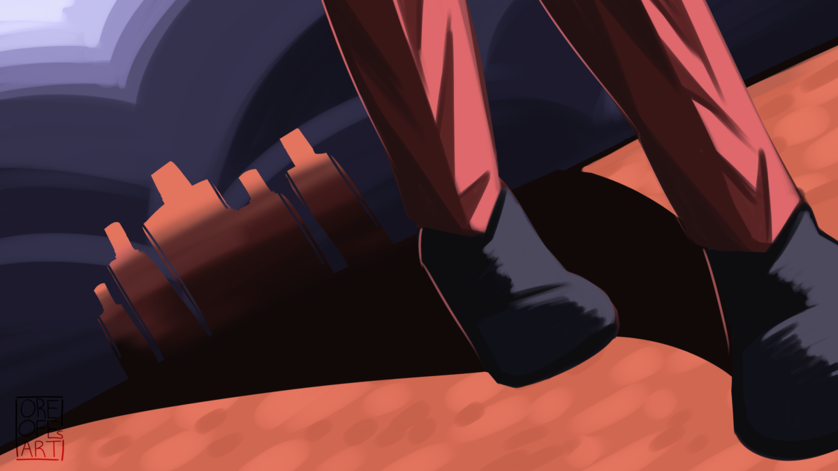 Close up drawing of feet walking away from a crowd