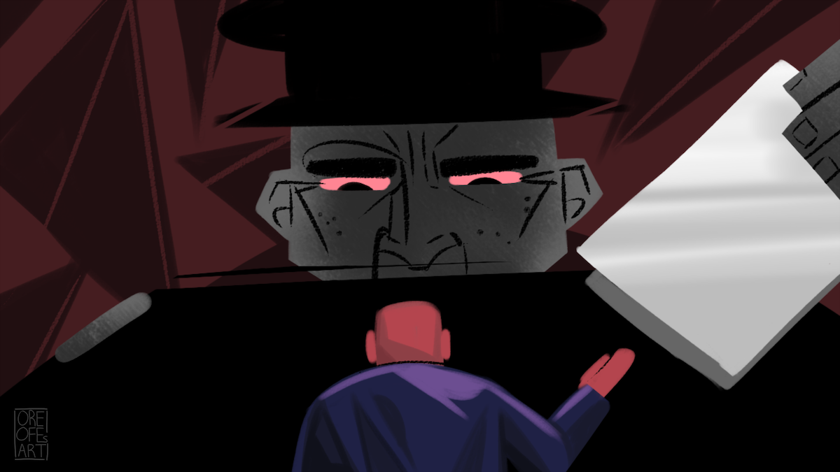 An enormous man with red eyes stares down at a much smaller man, holding papers above his head