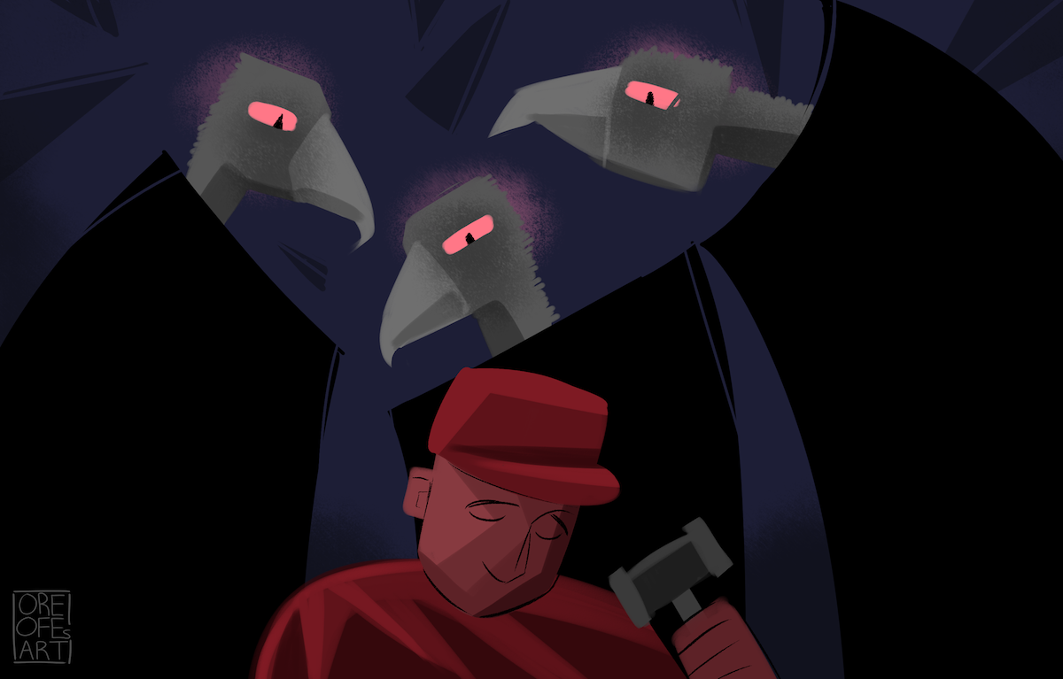 Three vultures with glowing eyes stare down at a man in a red cap