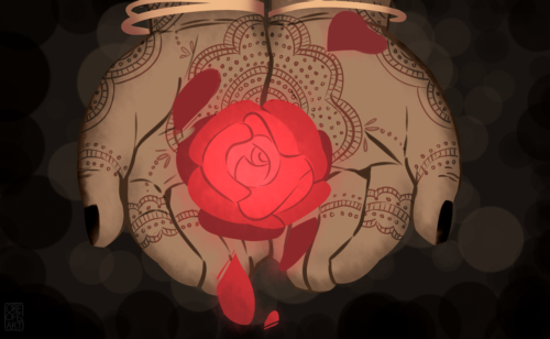 A glowing rose is held in someone's palms, which are covered in henna