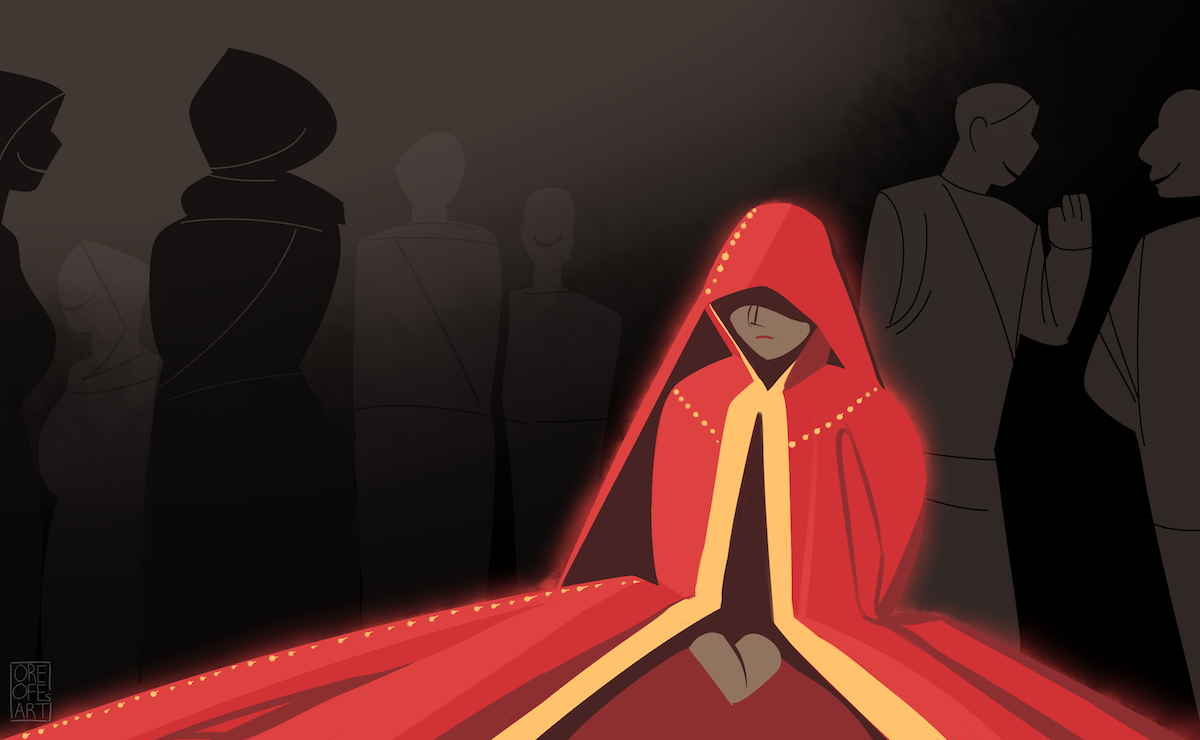 A long red and gold gown shrouds a woman while dark figures walk past her.