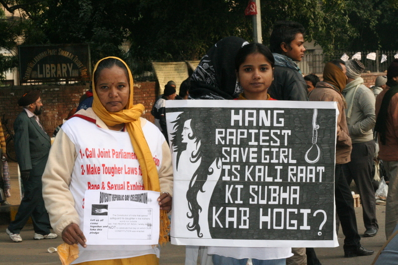 Two women protest against rape in India