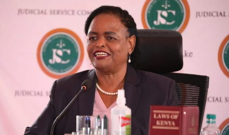 Kenya's Chief Justice-designate Martha Koome responds to questions during her job interview. Judiciary.go.ke